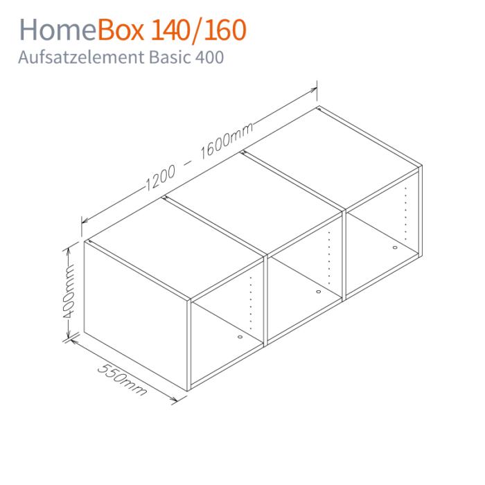 Maß-Skizze Aufsatzelement BASIC 400 für HomeBox 120 und 160 Home-Office auf Mass