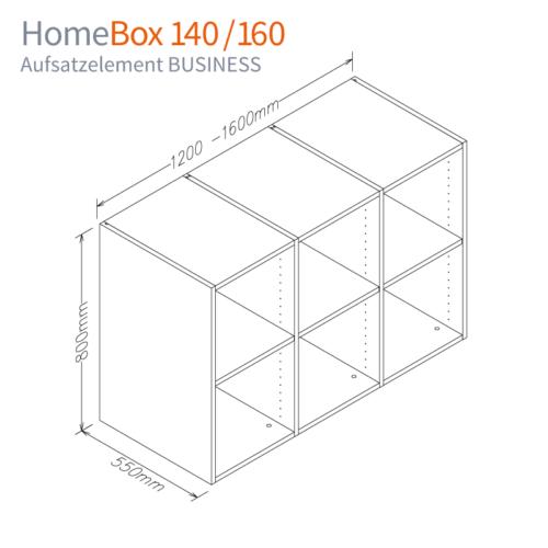 Maß-Skizze Aufsatzelement BUSINESS für HomeBox 120 und 160 - Home-Office-auf-Mass