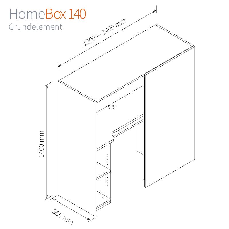 Homebox 120 Masse Grundelement-120cm-140cm