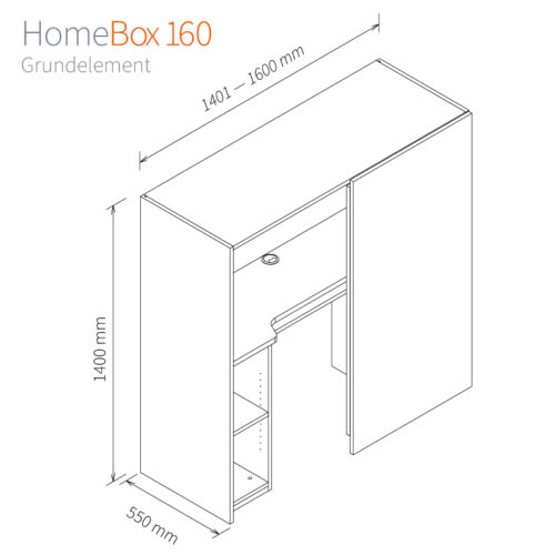 Homebox 160 Masse Grundelement-140,1cm-160cm