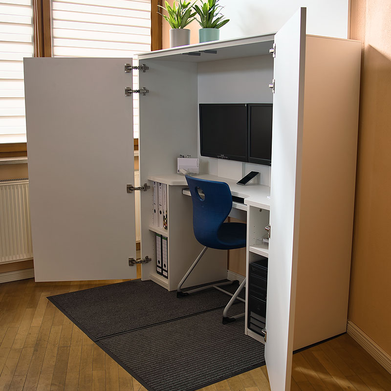 HomeBox - HomeBox - Home-Office im Schrank - geöffnetHome-Office im Schrank - geöffnet