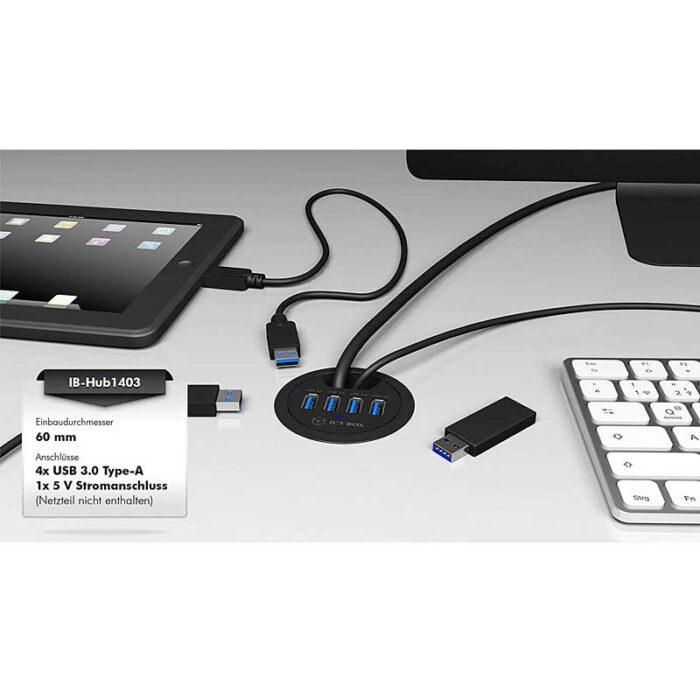 USB 3.0 Hub ICY Box IB-Hub-1403 für HomeBox Homeoffice im Schrank - Shop