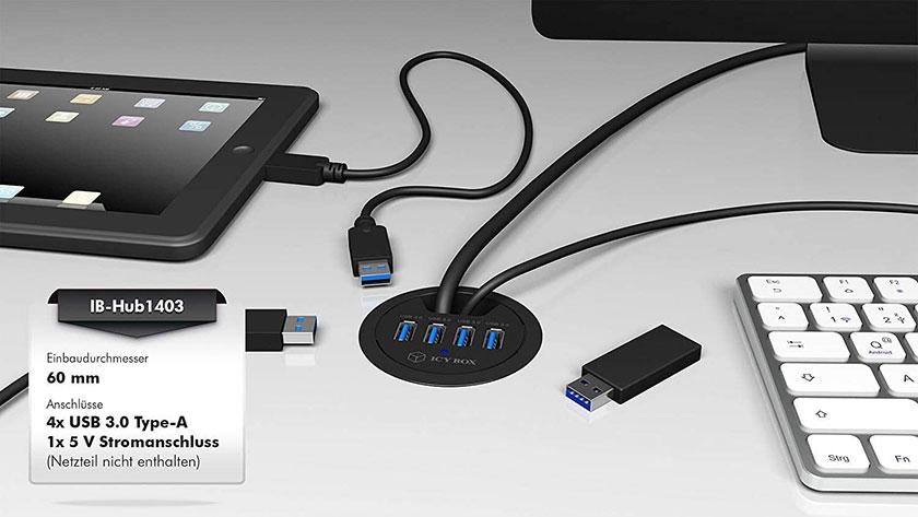 USB 3.0 Tisch-Hub, IB-Hub1403 für Homebox - Homeoffice auf Mass